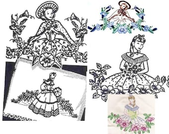 3*Southern Belle - Crinoline Lady pillowcase embroidery pattern LW636
