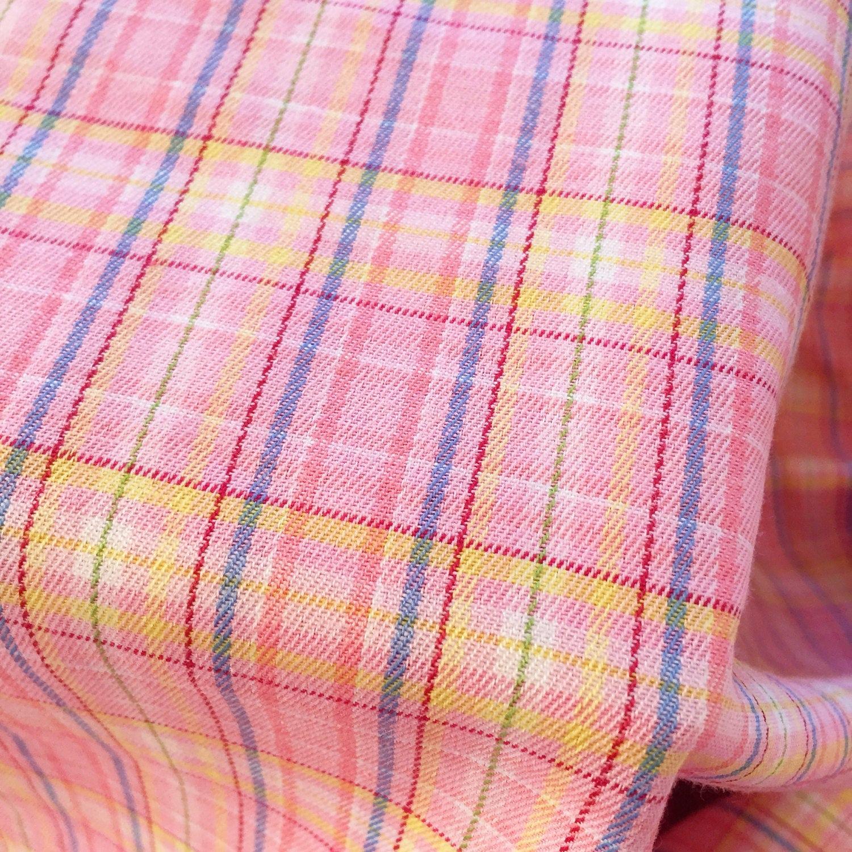 TELA de cuadros tartán Plaid cheque amarillo azul rosa