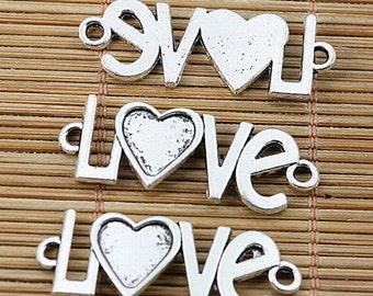 8pcs Tibetan silver plated heart love connectors EF2068