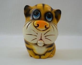 Vintage 1960's Yellow Sad Eyed Tiger Coin Bank. Chalkware Bank, H A Japan