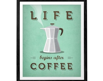 Life begins after coffee Green Coffee print Coffee poster Mint poster Mint Kitchen wall art Kitchen decor Typography poster Mint kitchen art