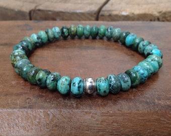 Bracelet Homme Turquoise Africaine, perles semi-précieuses, Argenté,  Etretch, Tendance