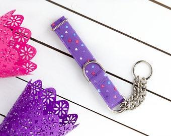It's Raining Hearts Dog Collar - Female Dog Collar - Martingale Chain Collar - Dog Collar - Check Chain Collar - Metal buckle -