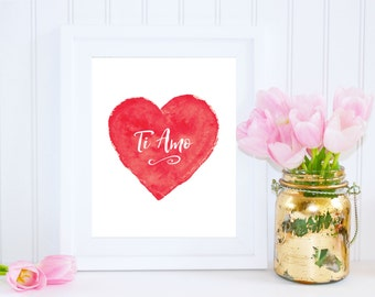 Ti Amo, Italian, I Love You, Valentines Day Print, Red Art, Valentine's Day Gift, Gift For Her, Instant Download