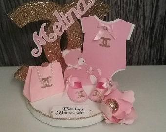 Baby shower centerpiece, girl baby shower decoration