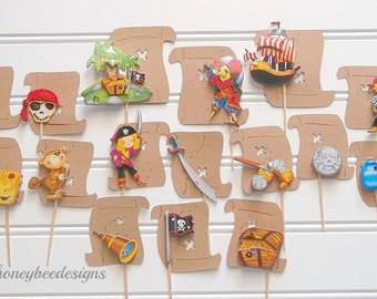 pirate cake toppers, pirate bithday party, treasure map cake toppers, pirate party decor, treasure party decor, treasure hunt party