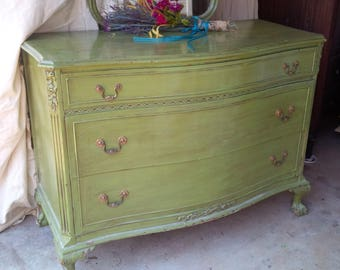 DRESSER Vintage Cottage Low Boy / Bow Front Wood Chest of Drawers and Mirror /Poppy Cottage Painted Furniture