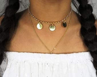 Cochella choker - boho Coin Disc Chain Choker - Gold platedSweet Heart Choker - Boho Coin Disc Chain Choker - Gold plated