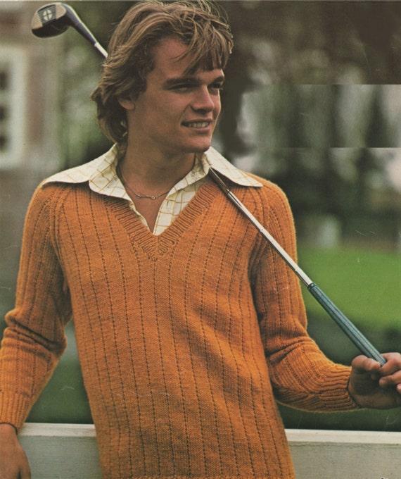 Mens Boys V Neck Sweater Knitting Pattern 26 28 30
