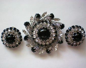 Austrian Crystal Filigree Brooch with Clip Earrings - 5788