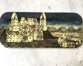 Vintage Piero Fornasetti Milano Italy Metal Tray City Of Cards 1950s Original