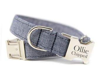 Herringbone Dog Collar, Engraved Herringbone Dog Collar, Personalized Dog Collar-Navy Herringbone