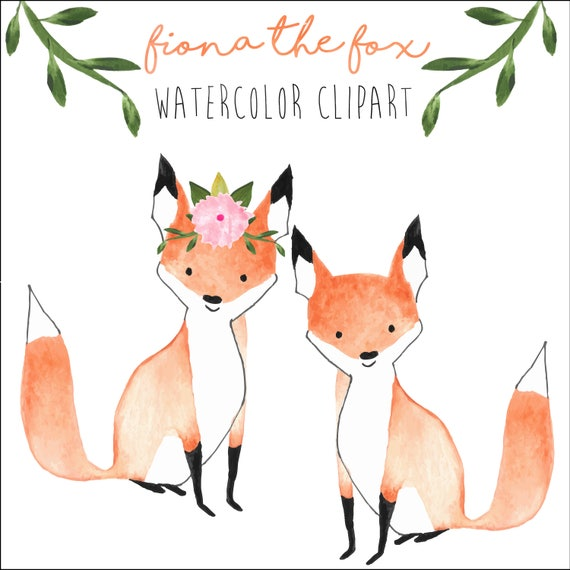 fox clipart forest clipart wedding clipart watercolor baby rh etsy com fox clip art free printable fox clipart cartoon