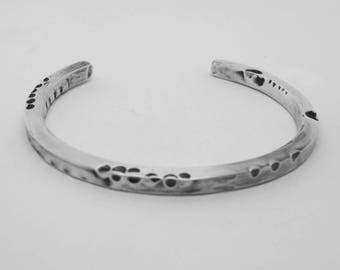 Ladies Heavy Silver Cuff, Distressed Silver Bracelet, Silver Anniversary Gift,  Distressed Silver Cuff