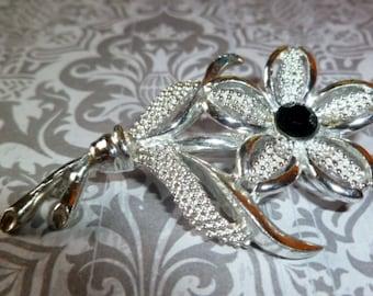 Vintage Silver Flower Brooch, Sarah Coventry Black Beauty, Rhinestone, Daisy,or Dogwood Flower Pin