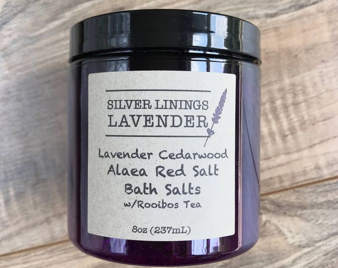Lavender & Cedarwood Alaea Red Salt Bath Salts with Rooibos Tea