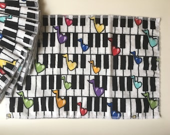 Unpaper Towels, Kids Lunch Napkins, Flannel Napkin Dinner Napkin Set of 12 Piano