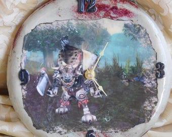 Hogger ceramic world of warcraft inspired wall clock hogger Ellwynn forest