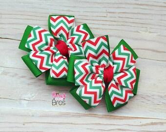 Christmas Chevron Bow Set - Pinwheel Piggy Set