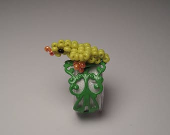 Green Adjustable ring, bird seed beads, green and yellow chick