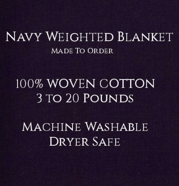 Solid Color, Weighted Blanket, NAVY, Up to Twin Size 3 to 20 Pounds.  Calming, Heavy Blanket, SPD, Autism, Weighted Blanket.