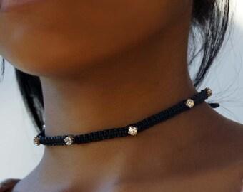 Rhinestone Choker Necklace, Black Macrame Necklace, Rhinestone Choker