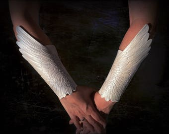 Swan wings - Pair of hand tooled leather winged bracers - White dove wings with silver shading - Tooled leather angel wings
