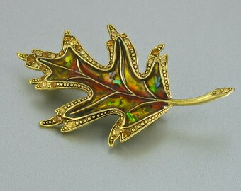 Vintage LC Liz Claiborne Enamel & Rhinestone Leaf Brooch. Vintage Leaf Brooch. Liz Claiborne Brooch. Designer Signed Pin. Vintage LC Jewelry