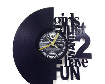 "Cyndi Lauper Song ""Girls just want to have fun"" Vinyl Clock"