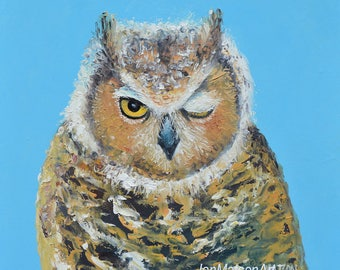 OWL painting, animal art, nursery painting, owl art, kids room art, great horned owl, kids room decor, Etsy nursery art, Jan Matson