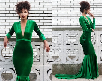 Serpentina Green Velvet Plunge Neck Mermaid Gown