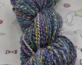 Hand spun pure wool yarn. 113gms DK weight.
