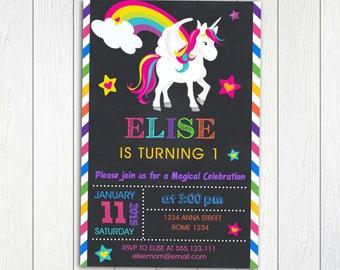 Rainbow Unicorn Birthday invitation Party Personalized Printable, Unicorn Birthday Chalkboard