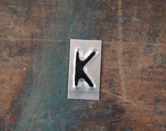 vintage industrial letter  K / metal letters / letter art