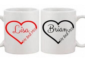 Personalised Mug Set for Couples - Wedding, Anniversary, Mr & Mrs