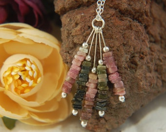 Multi-coloured TOURMALINE Gemstone Cluster Sterling Silver Chain Necklace