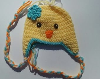 Made to order chick hat. Sizes 3 months to toddler.