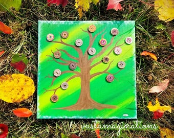Button Tree of Life 10x10 Acrylic Painting