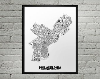 Philadelphia Pennsylvania Neighborhood Typography City Map Print