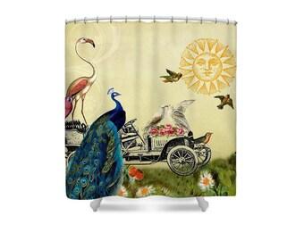 Bird Shower Curtain, Peacock, Bohemian Bathroom, Bathroom Decor, Whimsical Decor, Flamingo Bath Decor, Paris Decor, Paris Bathroom, Whimsy