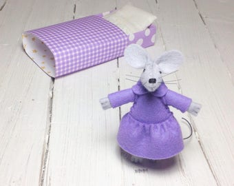 Matchbox mouse lilac plush mouse felt mouse small felt animal hand made dolls miniature animal tiny felt dolls