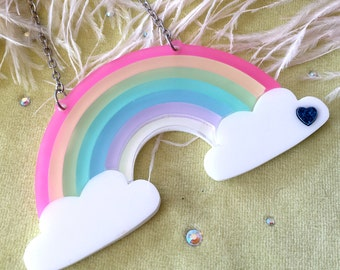 Pastel Frosted Rainbow Acrylic Necklace with Clouds, Laser Cut Acrylic, Plastic Jewelry