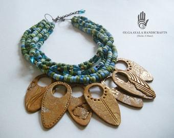 Multi Strand Shield Necklace