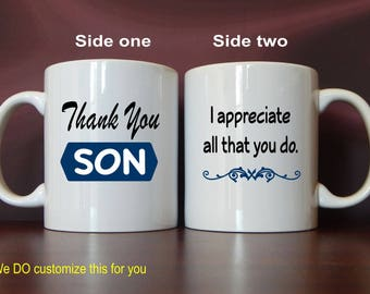 Gift for Son - Gifts for Son - Mug for Son from Mom and Dad - Personalized Son Mug - Son Gift Ideas - Son Thank You Gift, MTY003