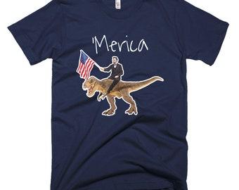 Abe Lincoln Shirt   Lincoln Riding A Dinosaur Short-Sleeve T-Shirt