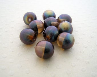 Set of 10 beads two-tone Brown Rainbow 8 mm - PB8 0573