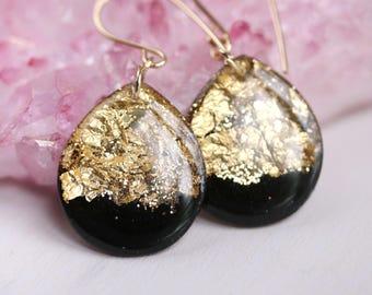 black and gold leaf teardrop earrings on 14 karat gold fill ear wires - large size