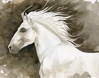 Beauty ,Watercolor Horse Art, Western Decor, Watercolor Horses Sepia, Equine Home Decor,  Wall Art,