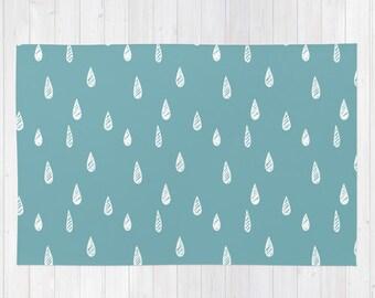 Rain Drops rug 32 colors, blue rug, blue nursery rug, nature nursery decor, scandinavian rug, woven rug, november rain, lake decor, lake rug
