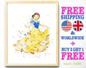 Snow White Disney Princess Watercolor Art Poster Print - Watercolor Painting - Home Decor - Wall Art - Christmas Gifts - Nursery Decor - 35